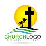 Icono del diseño del logotipo del amor del cuidado de la unión de la gente de la iglesia de la ciudad de la playa de Sun en el fo libre illustration