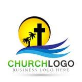 Icono del diseño del logotipo del amor del cuidado de la unión de la gente de la iglesia de la ciudad de la playa de Sun en el fo ilustración del vector