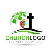 Icono del diseño del logotipo del amor del cuidado de la unión de la gente de la iglesia del globo en el fondo blanco Clásico, an ilustración del vector