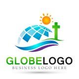 Icono del diseño del logotipo del sol del logotipo de la iglesia de la ciudad del globo clásico, antiguo En el fondo blanco stock de ilustración