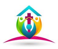 Icono del dise?o del logotipo del amor del cuidado de la uni?n de la gente de la iglesia de la ciudad en el fondo blanco stock de ilustración