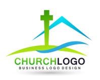 Icono del dise?o del logotipo del amor del cuidado de la uni?n de la gente de la iglesia de la ciudad en el fondo blanco ilustración del vector