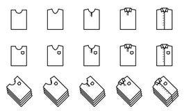 Icono del doblez de la camiseta y de la camisa fijado para el armario libre illustration