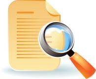 Icono del documento y de la lente Imagenes de archivo
