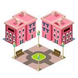 Icono del edificio de la casa y del parque Foto de archivo libre de regalías