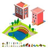 Icono del edificio de la casa y del parque Imagenes de archivo