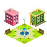 Icono del edificio de la casa y del parque Imagen de archivo libre de regalías