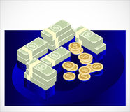 Icono del efectivo de la moneda del billete de dólar  ilustración del vector