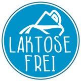 Icono del ejemplo con la palabra alemana para sin lactosa - laktosefrei ilustración del vector