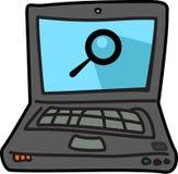 Icono del ejemplo del ordenador con símbolo de la búsqueda ilustración del vector