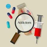 Icono del ejemplo del vector de la sobredosis de las píldoras de los drogadictos de los apegos Foto de archivo