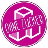 Icono del ejemplo ningún azúcar, sin azúcar y el zucker alemán del ohne de la palabra, zuckerfrei stock de ilustración