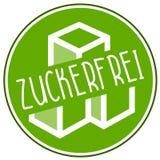 Icono del ejemplo ningún azúcar, sin azúcar y el zucker alemán del ohne de la palabra, zuckerfrei ilustración del vector