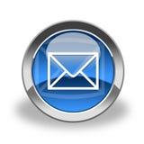 Icono del email, azul y brillante Imagenes de archivo