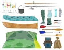 Icono del engranaje del equipo y del pescador de deporte de la pesca ilustración del vector