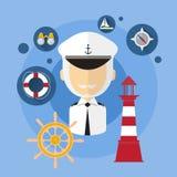 Icono del equipo de Man Captain Ship del marinero ilustración del vector