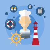 Icono del equipo de Man Cook Ship del marinero stock de ilustración