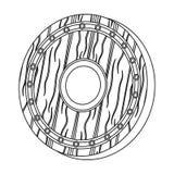Icono del escudo de Viking en estilo del esquema aislado en el fondo blanco Ejemplo del vector de la acción del símbolo de Viking Fotografía de archivo libre de regalías