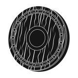 Icono del escudo de Viking en estilo negro aislado en el fondo blanco Ejemplo del vector de la acción del símbolo de Vikingos Foto de archivo