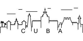 Icono del esquema de Cuba Puede ser utilizado para la web, logotipo, app móvil, UI, UX stock de ilustración