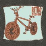 Icono del esquema de la bicicleta, diseño retro Fotografía de archivo