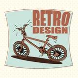 Icono del esquema de la bicicleta, diseño retro Imagen de archivo