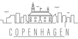 Icono del esquema de la ciudad de Copenhague Elementos del icono del ejemplo de las ciudades y de los pa?ses Las muestras y los s stock de ilustración