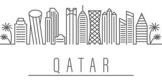 Icono del esquema de la ciudad de Qatar Elementos del icono del ejemplo de las ciudades y de los pa?ses Las muestras y los s?mbol ilustración del vector