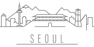 Icono del esquema de la ciudad de Se?l Elementos del icono del ejemplo de las ciudades y de los pa?ses Las muestras y los s?mbolo ilustración del vector
