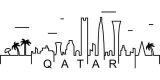 Icono del esquema de Qatar Puede ser utilizado para la web, logotipo, app móvil, UI, UX stock de ilustración