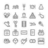 Icono del esquema fijado - boda Imagen de archivo libre de regalías