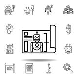 Icono del esquema del modelo de la rob?tica fije de iconos del ejemplo de la robótica las muestras, símbolos se pueden utilizar p ilustración del vector