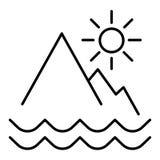 Icono del esquema del paisaje de las montañas muestra linear del estilo para el concepto y el diseño web móviles Sol naciente en  Foto de archivo