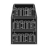 Icono del estante para libros en estilo negro aislado en el fondo blanco Ejemplo del vector de la acción del símbolo de la biblio Fotos de archivo libres de regalías