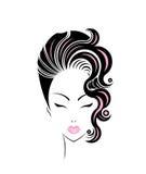 Icono del estilo de pelo corto, cara de las mujeres del logotipo ilustración del vector