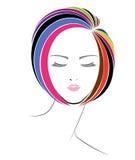 Icono del estilo de pelo corto, cara de las mujeres del logotipo