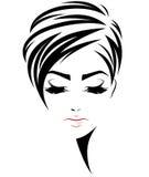 Icono del estilo de pelo corto de las mujeres, cara de las mujeres del logotipo en el fondo blanco stock de ilustración