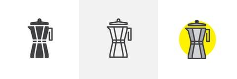 Icono del estilo del fabricante de café del géiser diverso libre illustration