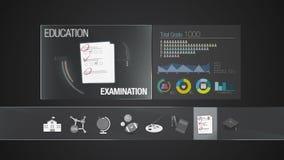 Icono del examen para el contenido de la educación Uso del indicador digital Animación determinada del icono de la educación ilustración del vector