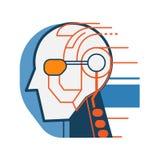 Icono del extracto de la cara del robot del Cyborg stock de ilustración