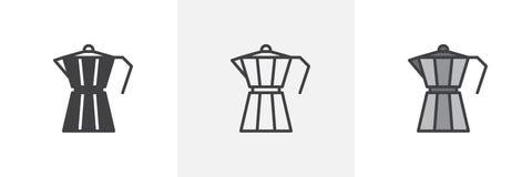 Icono del fabricante de café del géiser ilustración del vector