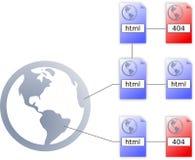 Icono del fichero de HTML de Internet, icono 404 y worldmap foto de archivo libre de regalías