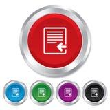 Icono del fichero de la importación. Símbolo del documento del fichero. Fotos de archivo libres de regalías