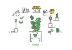 Icono del florista stock de ilustración
