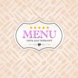 Icono del fondo de la etiqueta engomada del menú del negocio de la cocina Imágenes de archivo libres de regalías