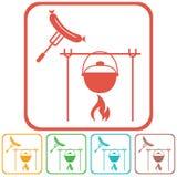 Icono del fuego, del pote y de la salchicha Imagen de archivo