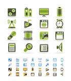 Icono del funcionamiento, del Internet y de la oficina del teléfono móvil Imagenes de archivo