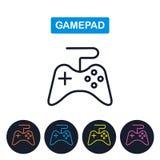 Icono del gamepad del vector Imaige de la palanca de mando Línea fina simple diseño Foto de archivo