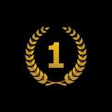 Icono del ganador de la silueta del vector del oro con el número Imagen de archivo
