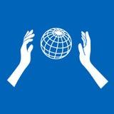Icono del globo con las manos en fondo azul Vector Foto de archivo